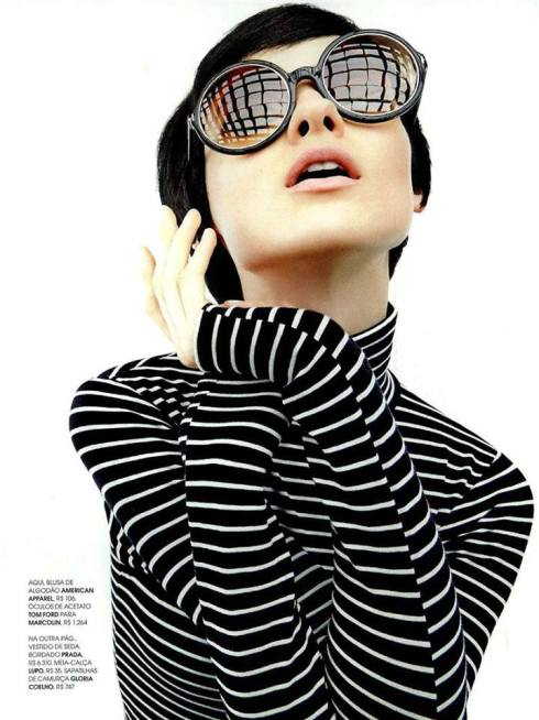 Marie Claire Brazil featuring American Apparel's Stripe Cotton Spandex Jersey Long Sleeve Turtleneck, May 2013