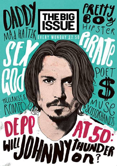 Fab Johnny Depp cover (artwork by Peter Strain) on this new cover The Big Issue from the UK
